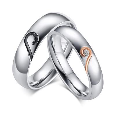 Coeur Désign Acier au Titane Gemme Bague de Promesse pour les Couples