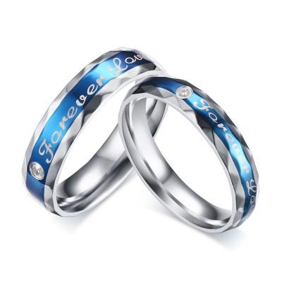 Bleu Pour Toujours Amour Acier au Titane Coupe Ronde Gemme Bague de Promesse pour les Couples