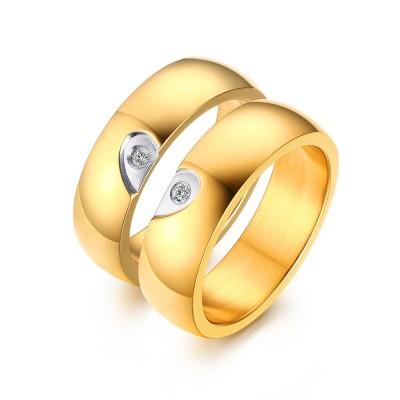 Élégant Coeur Désign Or Acier au Titane Gemme Bague de Promesse pour les Couples