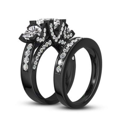 Coupe Princesse Gemme Noir 925 Argent Sterling Ensembles de Bague de Mariage