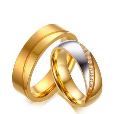 Coupe Ronde Saphir Blanc Acier au Titane Argent Or Bagues de Promesse pour les Couples