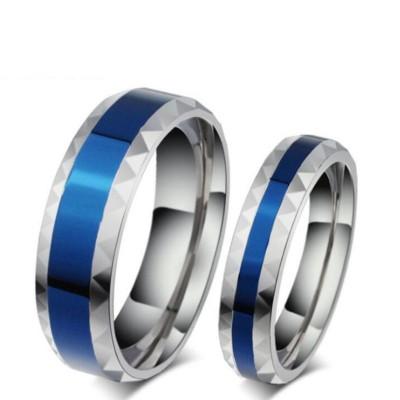 Acier au Titane Argent Bleu Bagues de Promesse pour les Couples