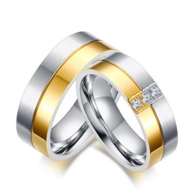 Acier au Titane Coupe Ronde Saphir Blanc Argent Or Bagues de Promesse pour les Couples