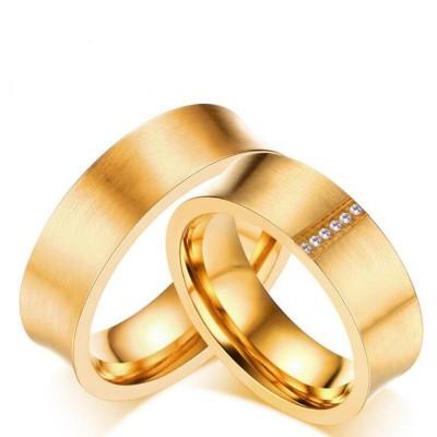 Or Coupe Ronde Saphir Blanc Acier au Titane Bagues de Promesse pour les Couples