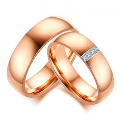 Acier au Titane Or Rosé Saphir Blanc Bagues de Promesse pour les Couples