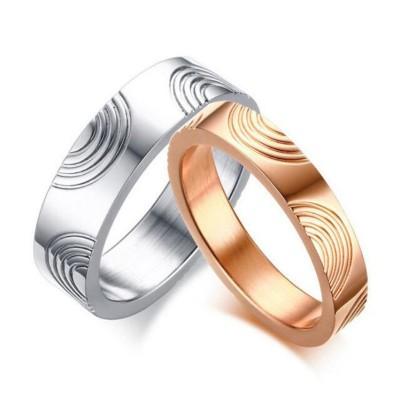 Or Rosé & Argent Acier au Titane Bagues de Promesse pour les Couples