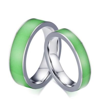 Luminous Acier au Titane Argent Bagues de Promesse pour les Couples