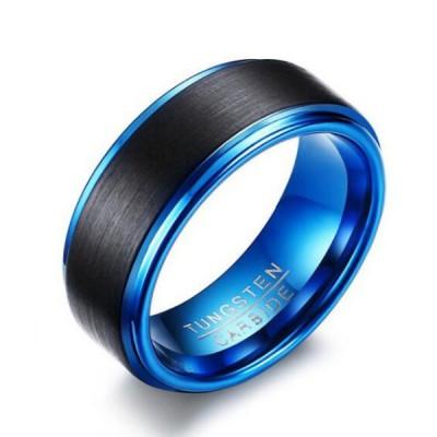 Tungstène Noir & Bleu Bague de Homme