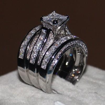 Coupe Princesse Or Blanc Plated 3 Pièces Ensembles de Bague de Mariage
