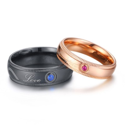 Amour Noir & Or Rosé Titane Bagues de Couple