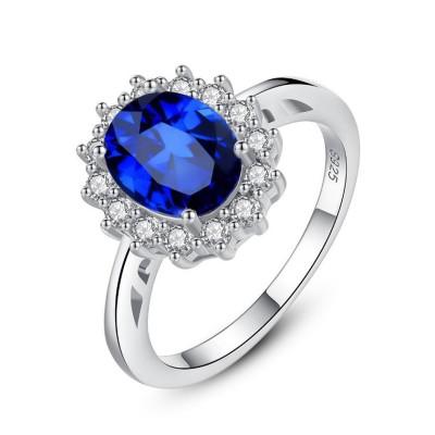 Coupe Ovale Saphir Bleu 925 Argent Sterling Bague de Promesse