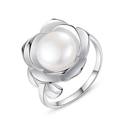 Ronde Pearl 925 Argent Sterling Adjustable Size Bague de Promesse