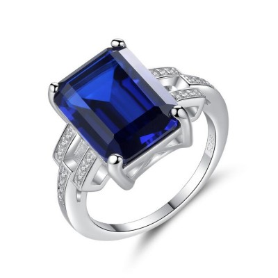 Coupe Émeraude Saphir Bleu & Émeraude 925 Argent Sterling Bague de Promesse