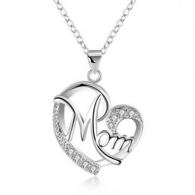 "Coupe Ronde Saphir Blanc Coeur ""Mom"" Collier"