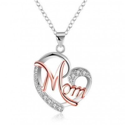 "Coupe Ronde Saphir Blanc Or Rosé & Argent Coeur ""Mom"" Collier"