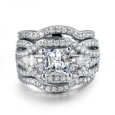 Coupe Princesse Saphir Blanc Three-Stone 3 Pièces Ensembles de Bague de Mariage