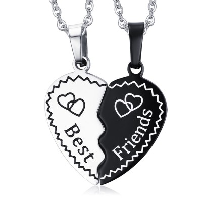 Best Friends Noir et Argent 925 Argent Sterling Collier