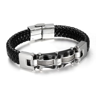 Noir Cuir925 Argent Sterling Bracelet