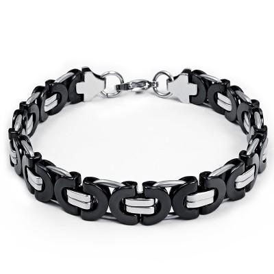 Noir et Argent Chaîne Désign 925 Argent Sterling Bracelet