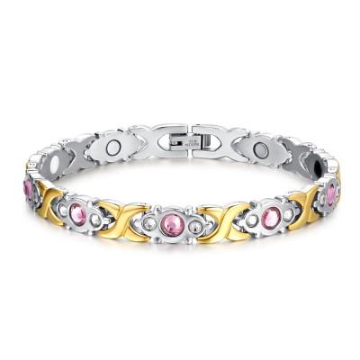 Saphir Rose Argent et Or 925 Argent Sterling Bracelet
