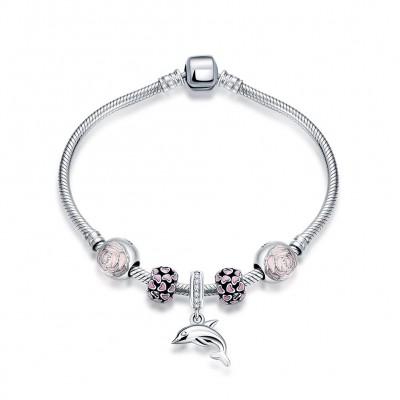 Rose Coeurs Fleur Dolphin Pendant S925 Argent Bracelets