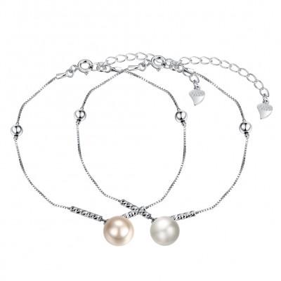 Blanc/Pearl Rose Pearl S925 Argent Bracelets