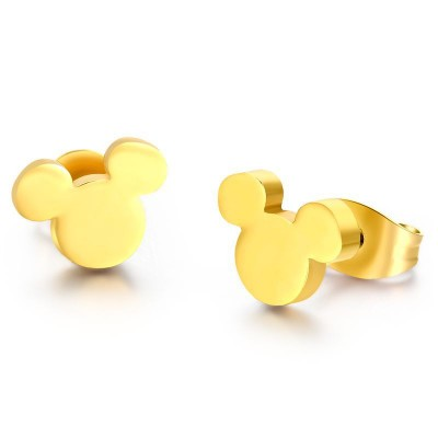 Mickey Désign Or 925 Argent Sterling Boucles d'oreilles