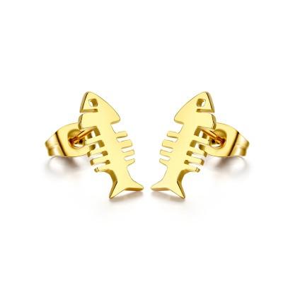 Fish Désign Or 925 Argent Sterling Boucles d'oreilles