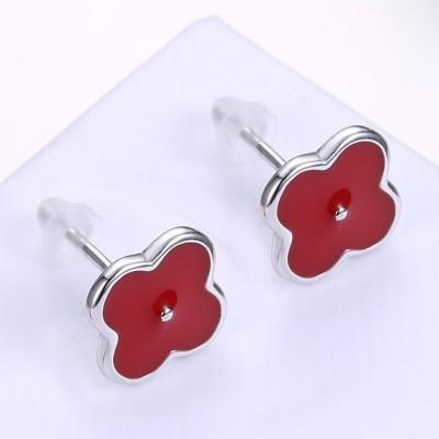 Rouge Clover S925 Argent Boucles d'oreilles