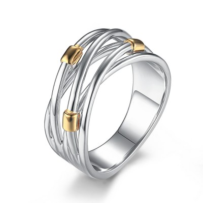 Intertwined Argent Sterling Bague Cocktail