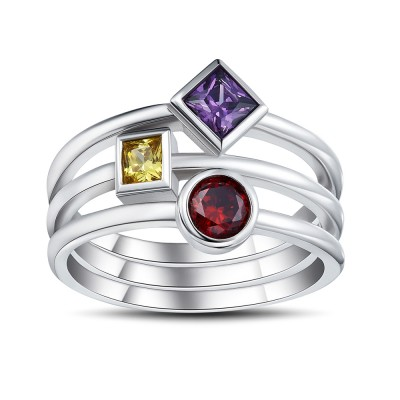Multicolore Coupe Princesse Gemme Argent Sterling Bague Cocktail