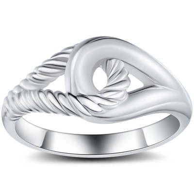 Interlock 925 Argent Sterling Bague Cocktail