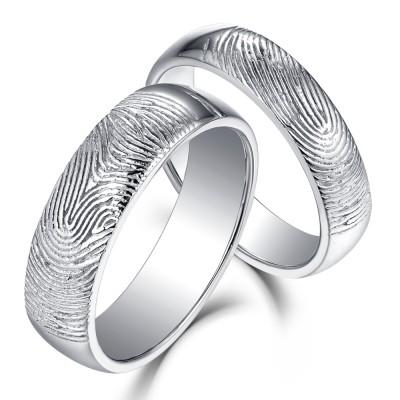 Magnifiquement Textured Fingerprint 925 Argent Sterling Bagues de Couple