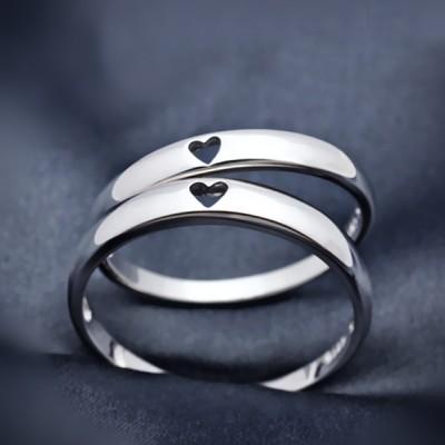 Coeur à Coeur 925 Argent Sterling Bagues de Couple