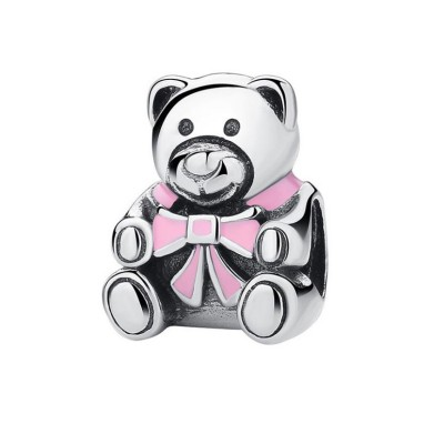 Teddy Bear with Rose Bowknot Breloque Argent Sterling