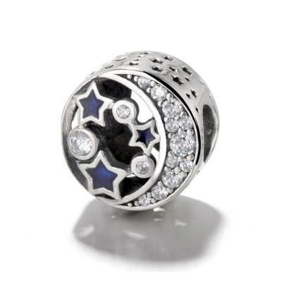 Moon & Bleu Étoiles Breloque Argent Sterling