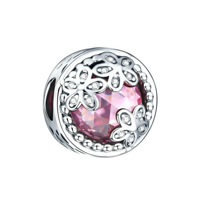 Fleurs with Rose Stone Breloque Argent Sterling