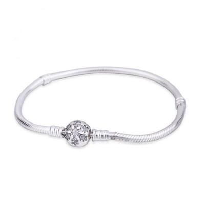 Snowflake Crystal Ronde Shape Clasp Bracelet Argent Sterling
