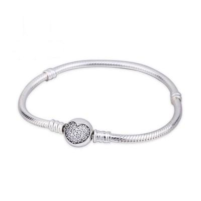 Coeur Crystal Ronde Shape Clasp Bracelet Argent Sterling