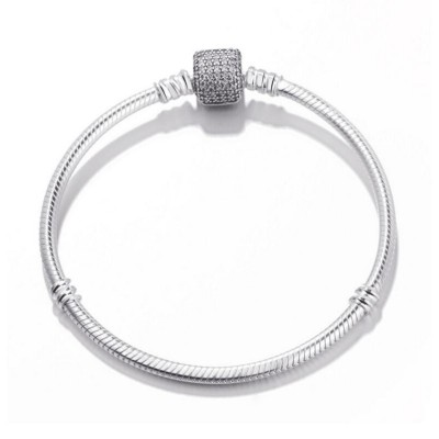 Pave Crystal Clasp Bracelet Argent Sterling