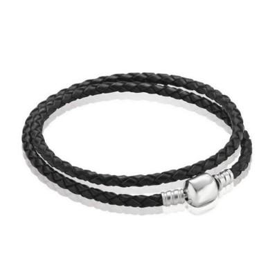 Double Cercle Noir Woven CuirBreloque Bracelet