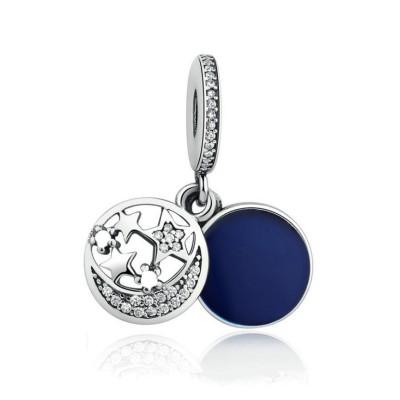 Moon & Étoiles Royal Bleu Breloque Argent Sterling