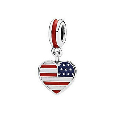 American Flag Breloque Argent Sterling