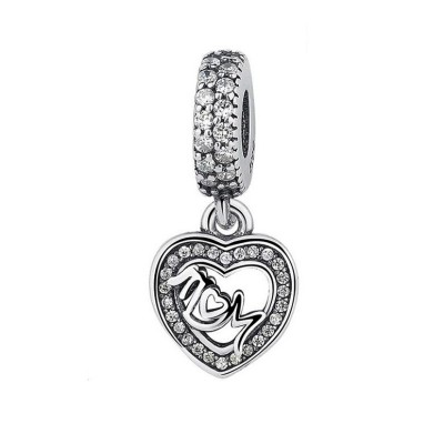 Mom & Coeur Breloque Argent Sterling