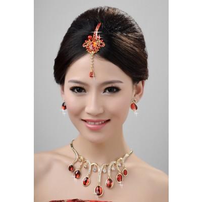 NouveauStyle Beau Alliage Cristaux Perles Coiffe de Mariage Colliers Boucles d'oreilles Set
