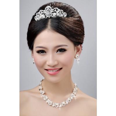 NouveauStyle Agréable Alliage Cristaux Clairs Perles Coiffe de Mariage Colliers Boucles d'oreilles Set