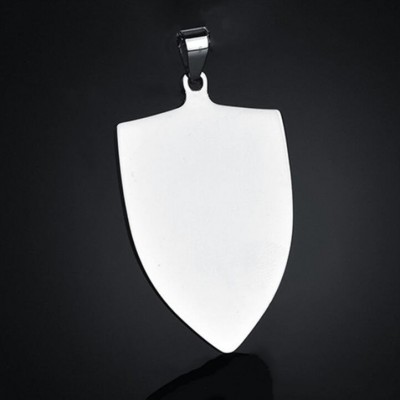 Acier au Titane Shield FormePersonnalisé Photo Gravée Pendant Collier