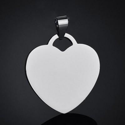 Acier au Titane Personnalisé Photo Gravée Forme de Coeur Pendant Collier