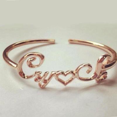 Or Rosé S925 Argent Personnalisé Name Bracelets Joncs