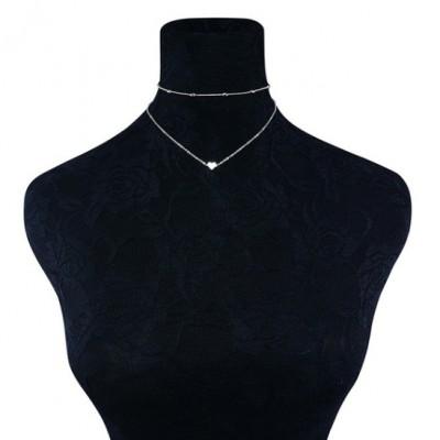 Femme Or Argent Plated Coeur Bib Statement Simplicity Choker Set